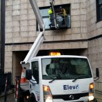 Self drive cherry picker for fitting glass