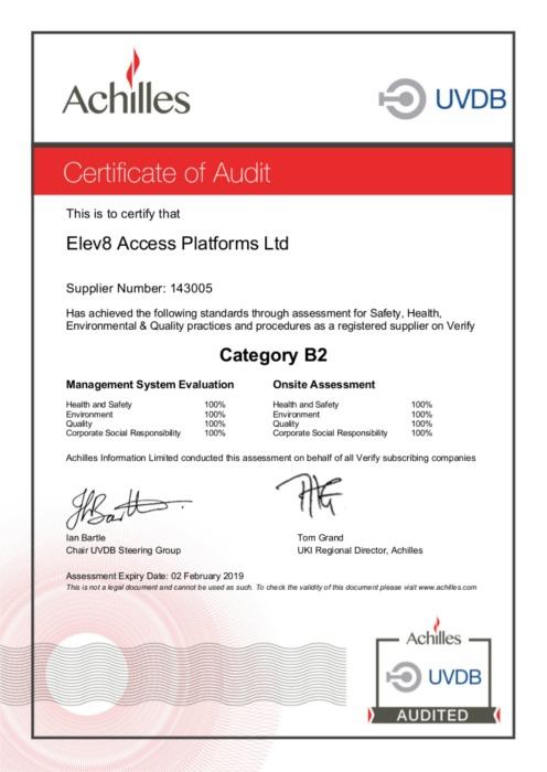 Access platform with UDVB Achilles Verification