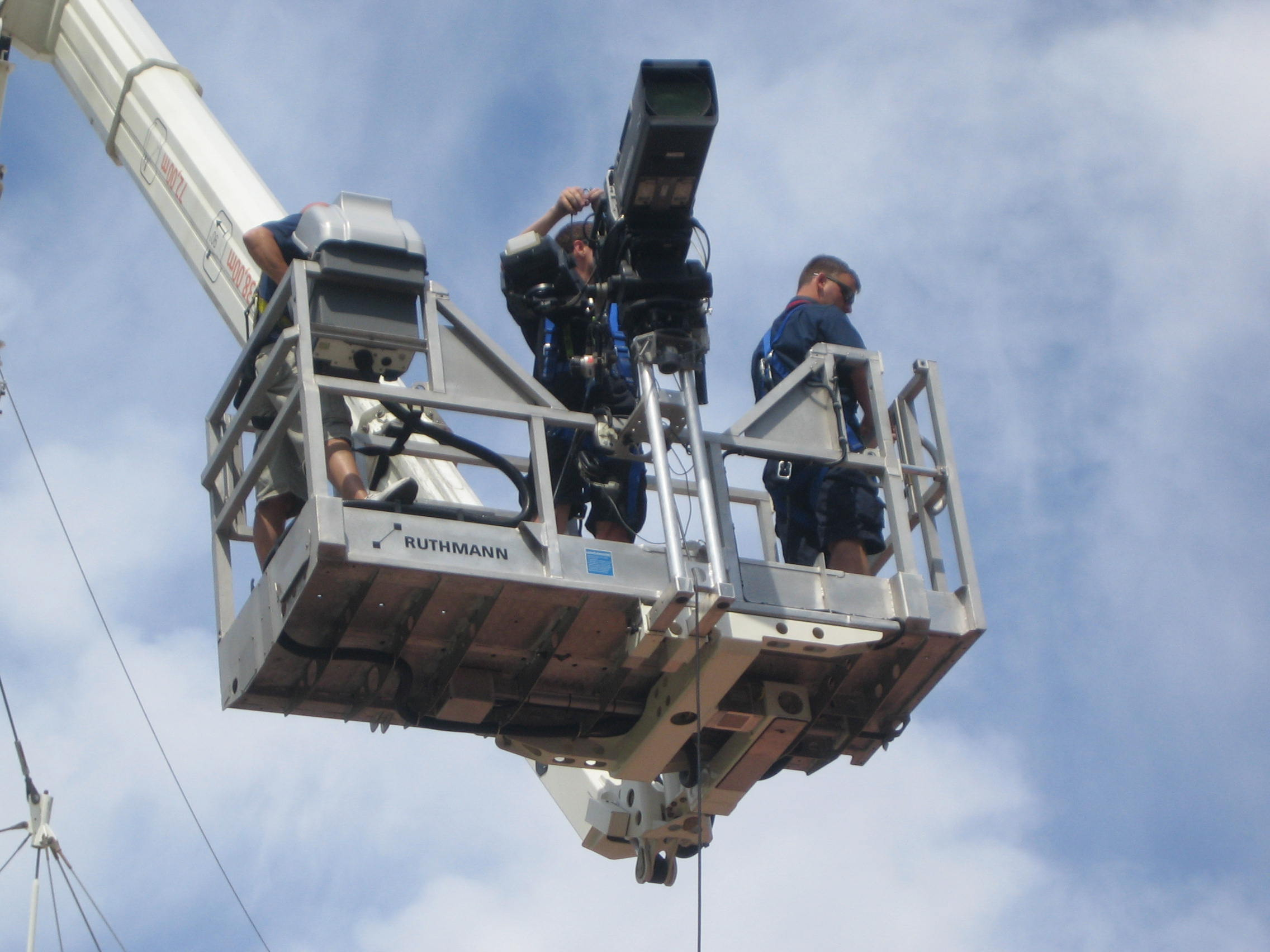 Aerial film work with camera mounted to a MEWP basket
