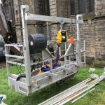 Access platform with cage winch used for safely lifting equipment