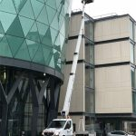 Self drive cherry picker used for window cleaning