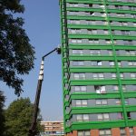 High rise building facade maintenance using an access platform